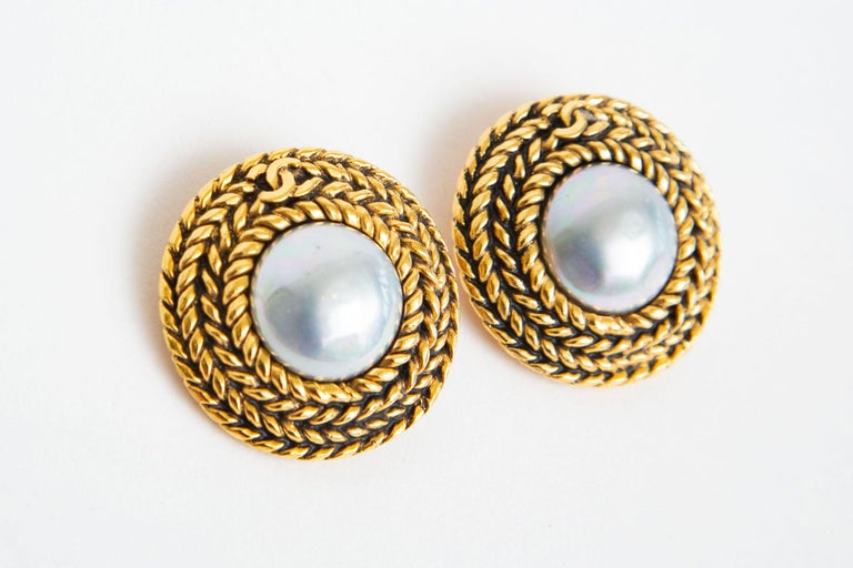 Modern Chanel Braided Gilt Metal and Gray Faux Baroque Pearl Clip On Earrings Vintage For Sale