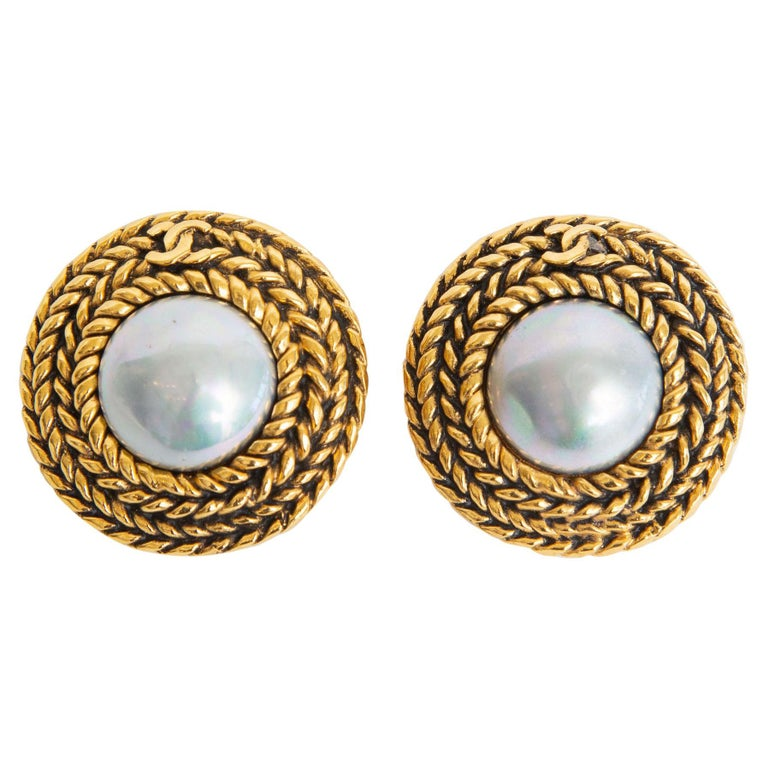Chanel Braided Gilt Metal and Gray Faux Baroque Pearl Clip On Earrings Vintage For Sale