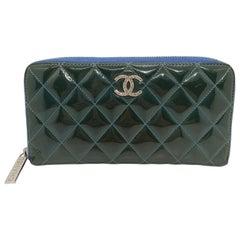 Chanel Brilliant Deep Marine Bi-Color Patent Lambskin Leather Gusset Zip Wallet