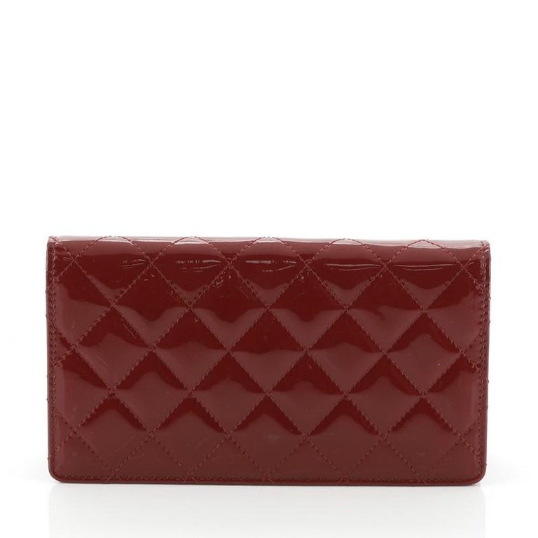 Brown Chanel Brilliant L-Yen Wallet Quilted Patent For Sale