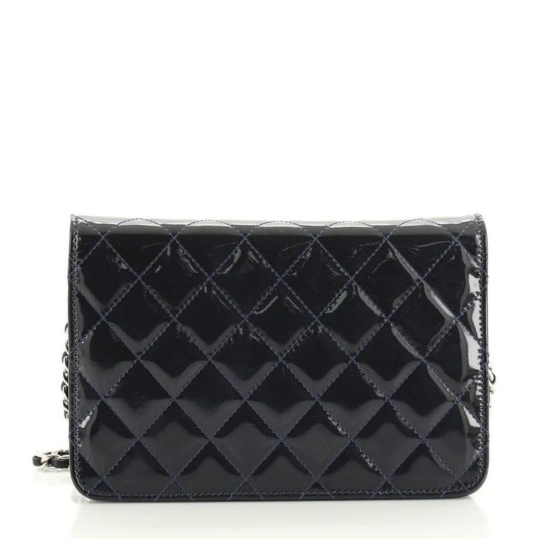 Women's or Men's Chanel Brilliant Wallet on Chain Quilted Patent For Sale