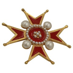 Chanel broche in gold metal, red enamel and fake pearl