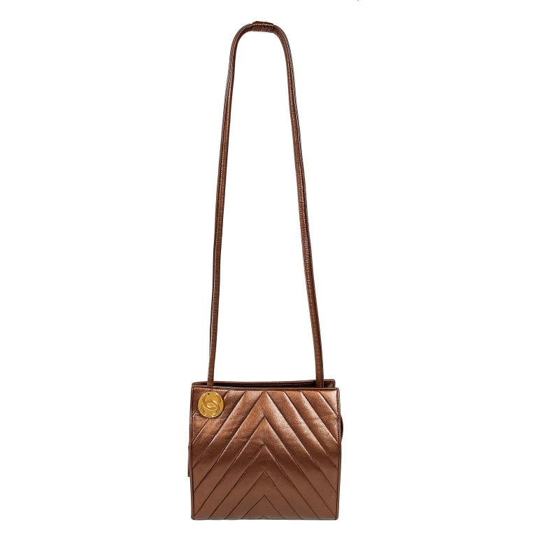 Chanel Bronze Chevron Leather Shoulder Bag