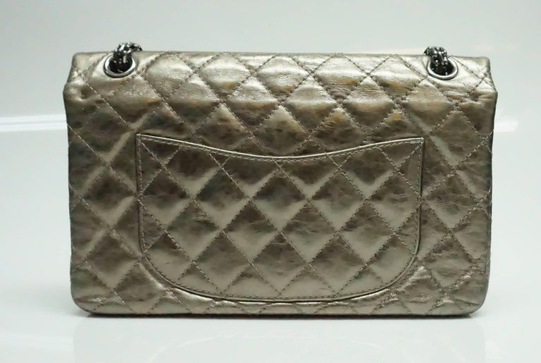 Chanel Bronze Metallic Lambskin Reissue 226 Double Flap SHW Bag, Circa 2006 In Excellent Condition For Sale In Palm Beach, FL