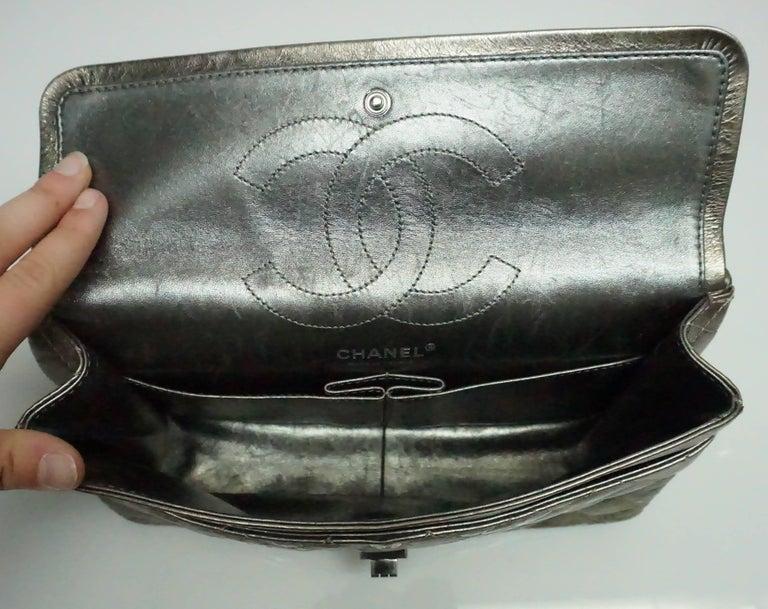 Chanel Bronze Metallic Lambskin Reissue 226 Double Flap SHW Bag, Circa 2006 For Sale 2