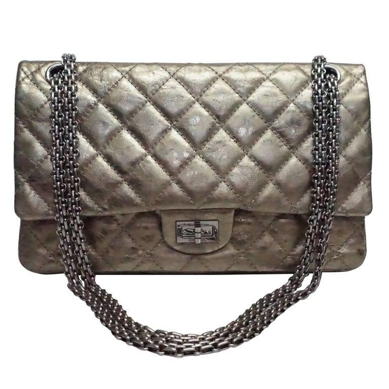 36cc73804dbb62 Chanel Bronze Metallic Lambskin Reissue 226 Double Flap SHW Bag, Circa 2006  For Sale
