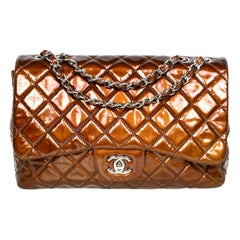 Chanel Bronze Patent Leather Quilted Single Flap Jumbo Classic Bag