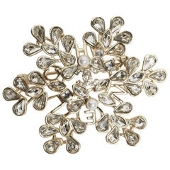 Chanel Brooch Snowflake With Rhinestones and Pearl