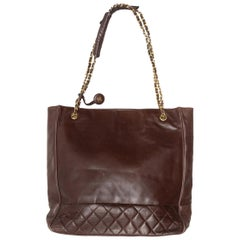 Chanel Brown 1980s Leather Tote Bag