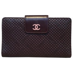 Chanel Brown and Pink Leather Embossed Wallet