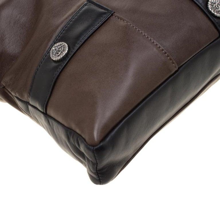 Chanel Brown/Black Leather Medium Girl Shoulder Bag For Sale 6
