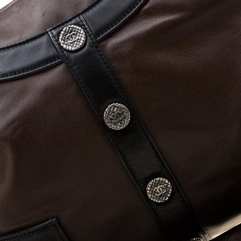 Chanel Brown/Black Leather Medium Girl Shoulder Bag For Sale 8