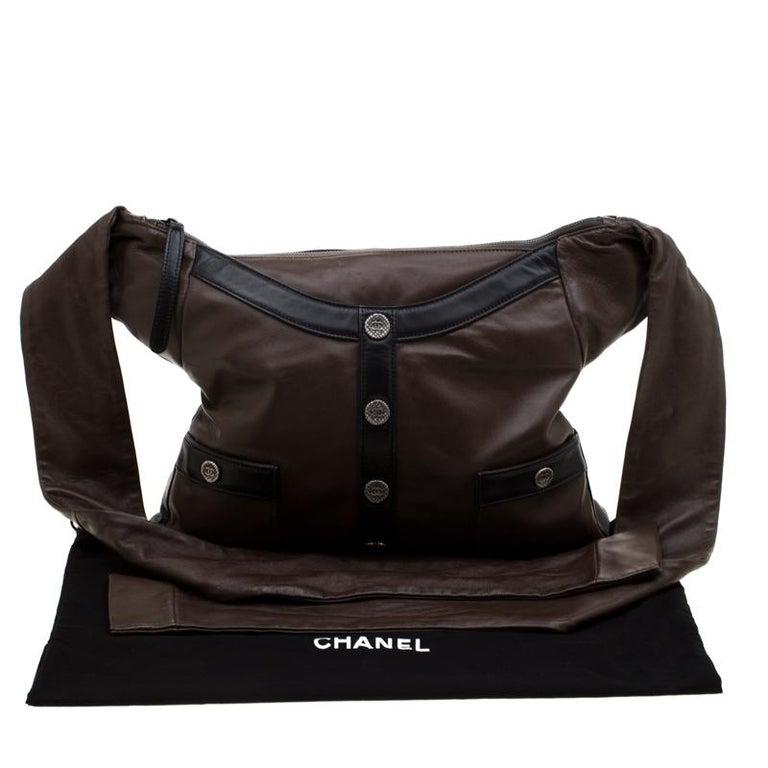 Chanel Brown/Black Leather Medium Girl Shoulder Bag For Sale 9