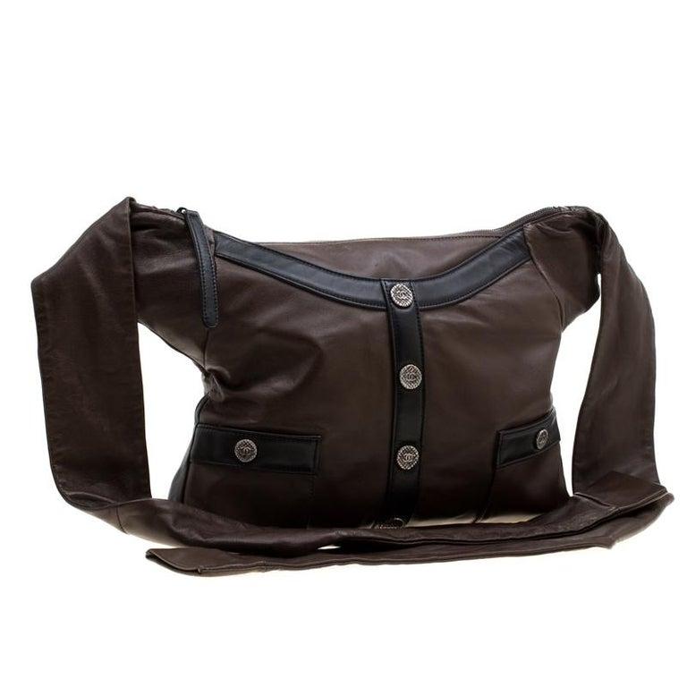 Women's Chanel Brown/Black Leather Medium Girl Shoulder Bag For Sale