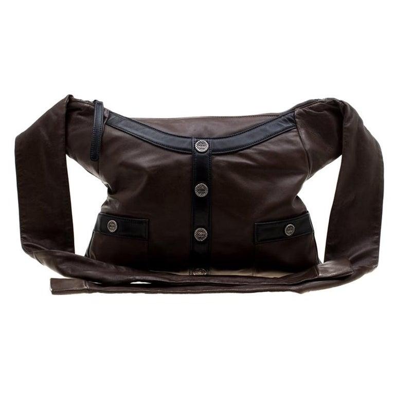 Chanel Brown/Black Leather Medium Girl Shoulder Bag For Sale