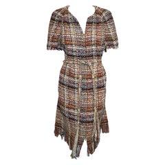 Chanel Brown Brick Textured Short Sleeve 2018 Cruise Collection Dress 48 EU