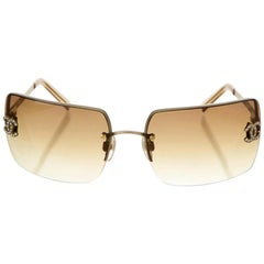 Chanel Brown Bronze Ombre Tinted Gold Crystal CC Rimless Kylie Sunglasses