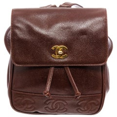 Chanel Brown Caviar Leather CC Small Backpack