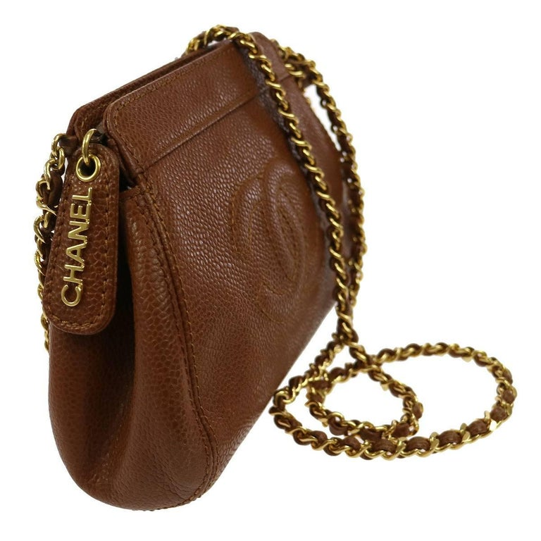 Women's Chanel Brown Caviar Leather with Gold Chain Strap Shoulder Bag  For Sale
