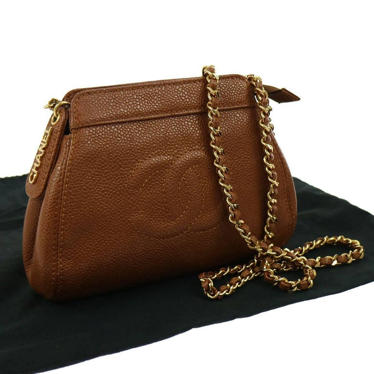 Chanel Brown Caviar Leather with Gold Chain Strap Shoulder Bag  For Sale 3