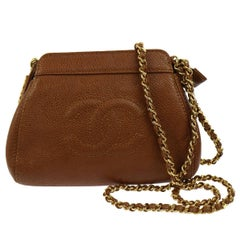 Chanel Brown Caviar Leather with Gold Chain Strap Shoulder Bag
