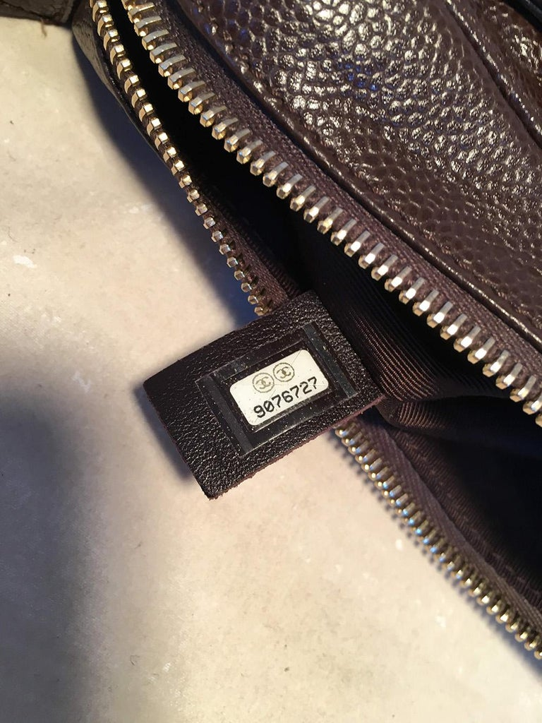 Chanel Brown Caviar Quilted Crescent Shoulder Bag For Sale 5