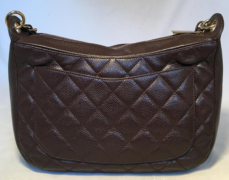 Chanel Brown Caviar Quilted Crescent Shoulder Bag In Excellent Condition For Sale In Philadelphia, PA