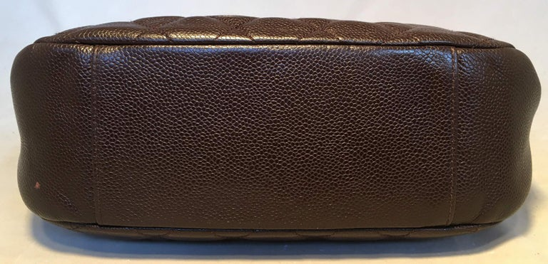 Women's Chanel Brown Caviar Quilted Crescent Shoulder Bag For Sale