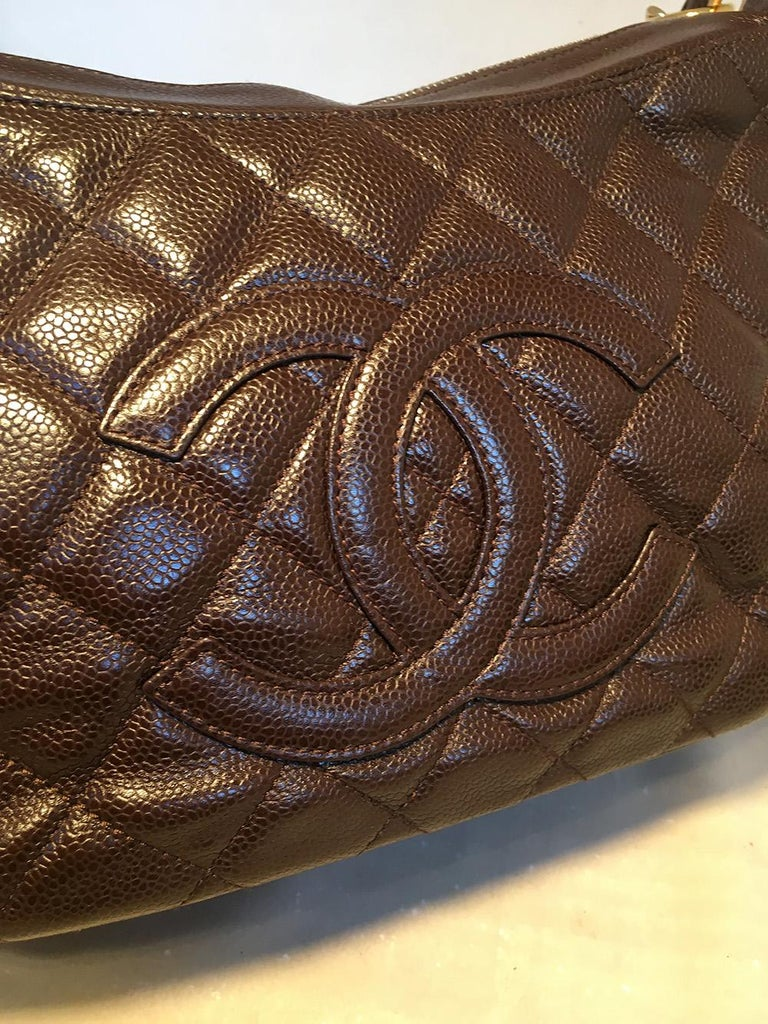 Chanel Brown Caviar Quilted Crescent Shoulder Bag For Sale 1