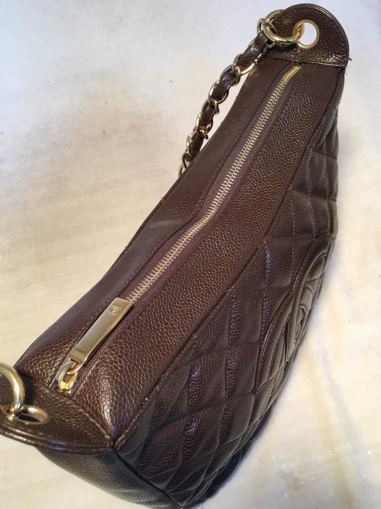 Chanel Brown Caviar Quilted Crescent Shoulder Bag For Sale 2