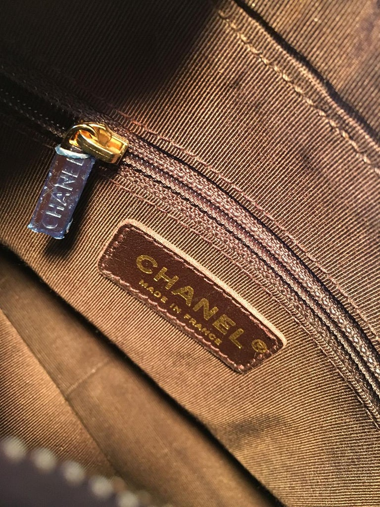 Chanel Brown Caviar Quilted Crescent Shoulder Bag For Sale 4
