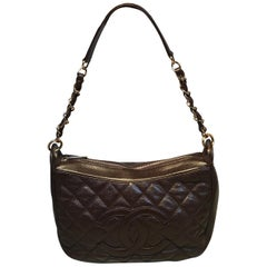 Chanel Brown Caviar Quilted Crescent Shoulder Bag