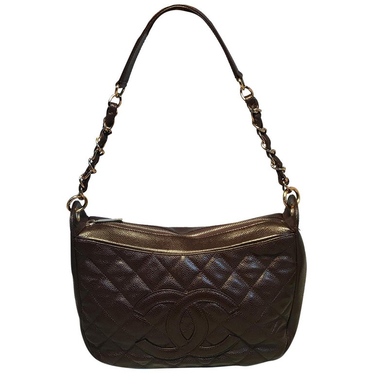 Chanel Brown Caviar Quilted Crescent Shoulder Bag For Sale