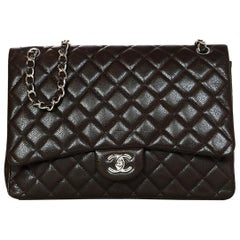 "Chanel Brown Caviar Quilted Leather Single Flap 13"" Maxi Classic Flap Bag w. SHW"