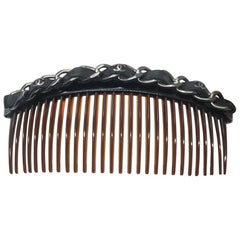 CHANEL Brown CC Chain Comb