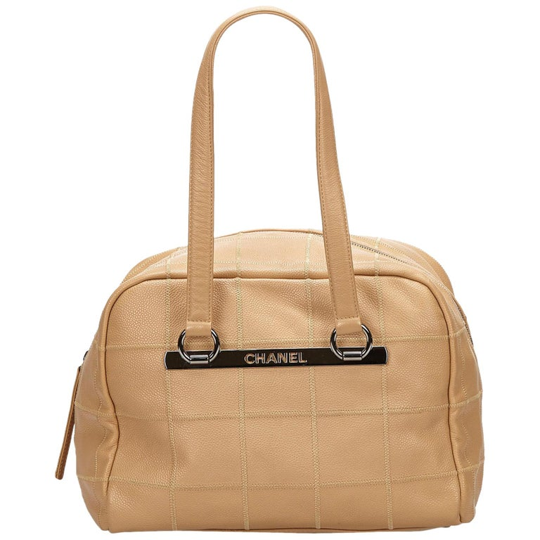 5ae541304651 Chanel Brown Choco Bar Caviar Leather Shoulder Bag For Sale at 1stdibs