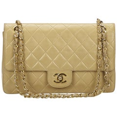 Chanel braune klassische mittlere Lammfell Double Flap Bag