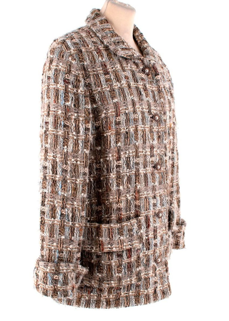 Chanel Brown, Cream & Blue Wool Blend Tweed Classic Jacket   -Made of a soft wool -Gorgeous cream tweed texture with hues of brown blue and red -Classic single breasted cut -Metal buttons with faux pearl details   -Luxurious silk lining -2 pockets