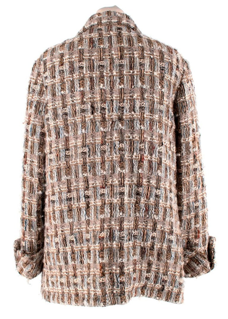 White Chanel Brown, Cream & Blue Wool Blend Tweed Classic Jacket - Size US 8