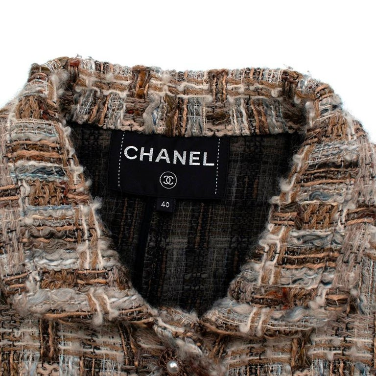 Chanel Brown, Cream & Blue Wool Blend Tweed Classic Jacket - Size US 8 In Excellent Condition In London, GB