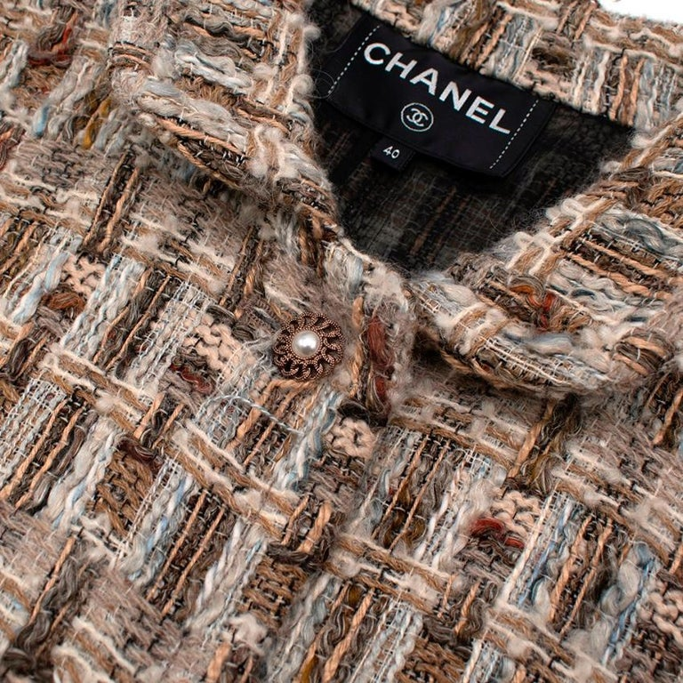 Women's Chanel Brown, Cream & Blue Wool Blend Tweed Classic Jacket - Size US 8