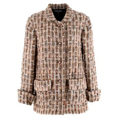 Chanel Brown, Cream & Blue Wool Blend Tweed Classic Jacket - Size US 8