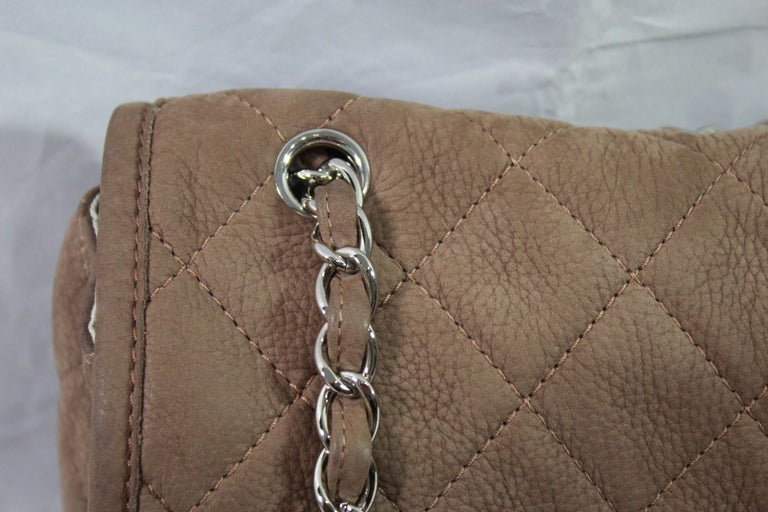 Gray Chanel Brown Crossbidy Classic Leather Bag For Sale