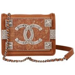Chanel Brown Distressed Caviar Leather Paris Dallas Mini Brick Flap Bag
