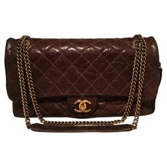 Chanel Brown Distressed Caviar Leather Quilted Classic Flap Shoulder Bag