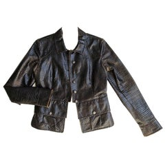 Chanel Brown Embossed & Distressed Leather Jacket