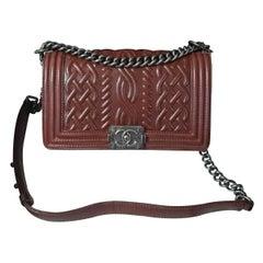 Chanel Brown Embossed Lambskin Celtic Medium Boy Bag