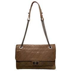 Chanel Brown Embossed Quilted Leather Classic Flap