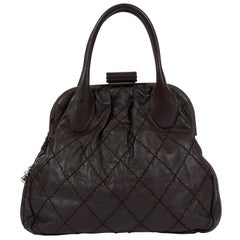 Chanel Brown Expandable Kiss Lock Bag