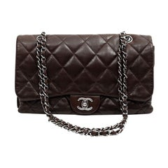 CHANEL Brown Lambskin Leather Bag